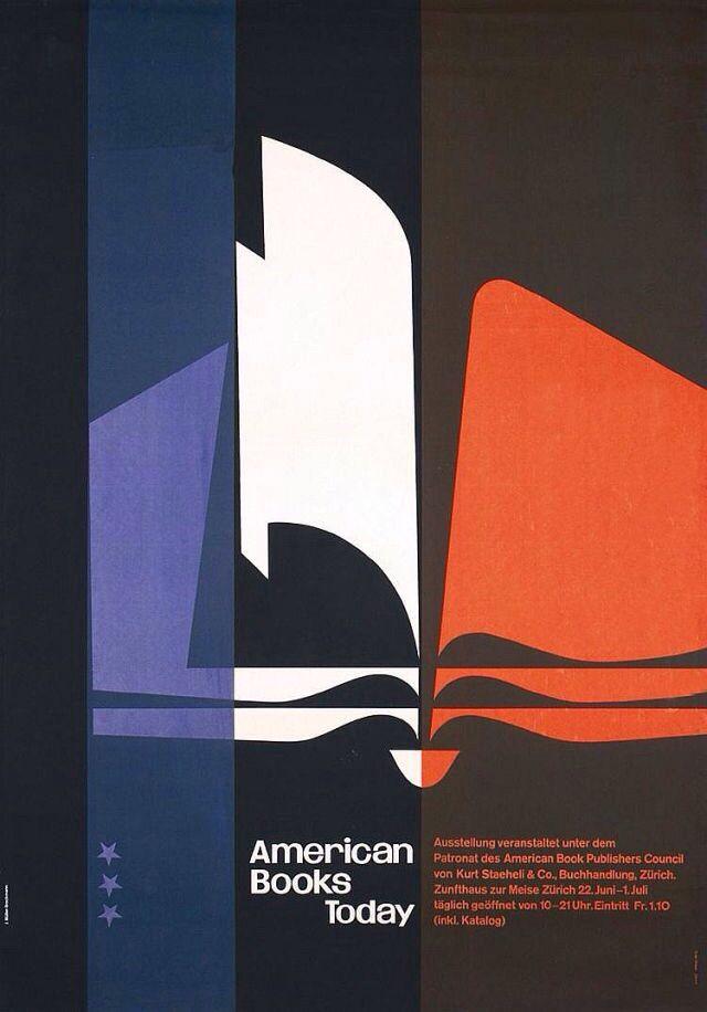 Josef Müller-Brockmann, exhibition poster for American Books Today, 1954. Zürich, Switzerland.