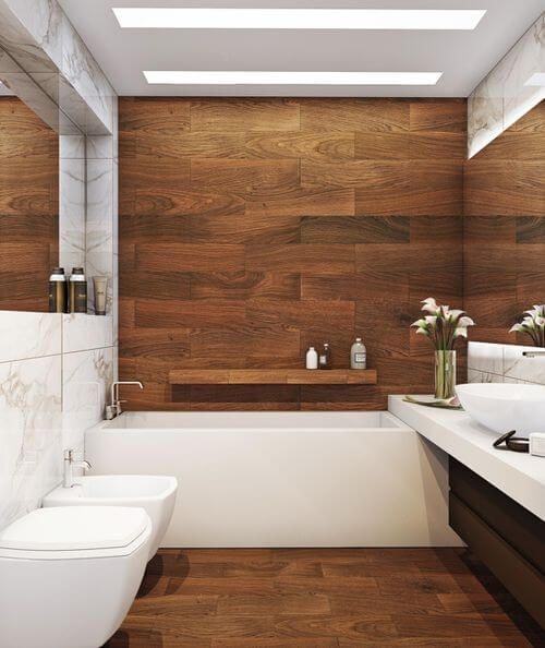 wooden effect tiles, feature wall above the bath | Wood ...