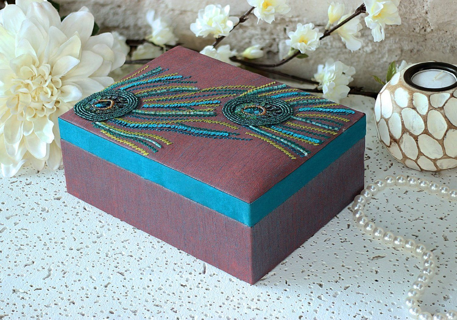Amazoncom Delicately Hand Embroidered Jewelry Box with a Silk