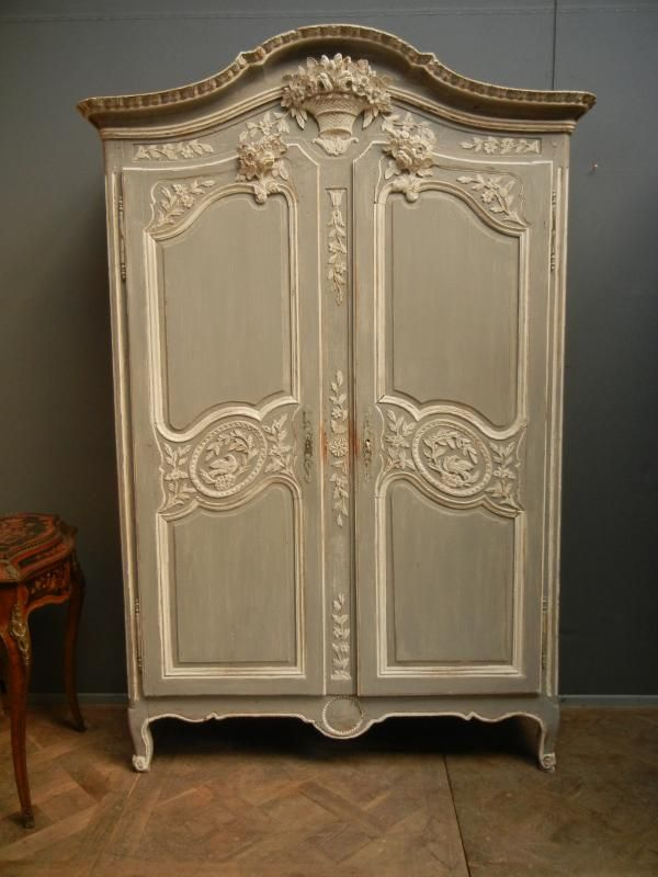 armoire normande de mariage peinte xix me french. Black Bedroom Furniture Sets. Home Design Ideas