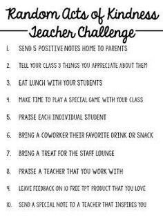 Student Teaching On Resume Random Acts Of Kindness Teacher Challenge  3  Pinterest  Teacher .