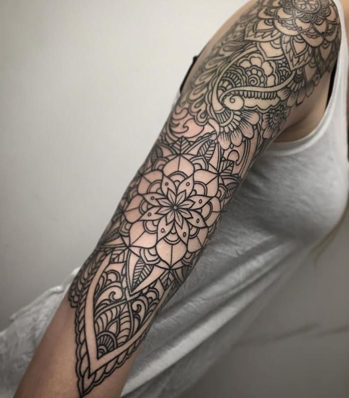image result for feminine mandala sleeve tattoo tattoos pinterest mandala sleeve mandala. Black Bedroom Furniture Sets. Home Design Ideas