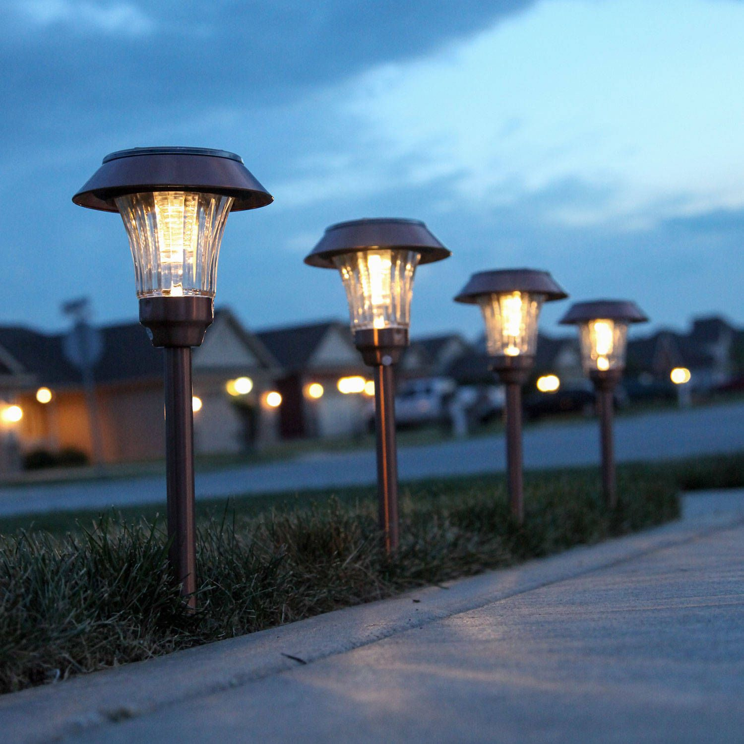 Sulis Copper Solar Path Lights Set Of 4 Solar Path Lights Outdoor Lighting Kit Landscape Lighting