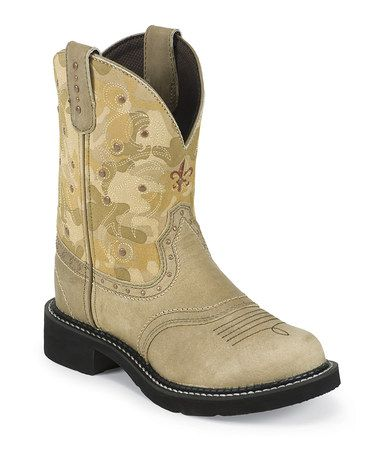 5f244cf954a Beige Camo Gypsy Cowboy Boot - Women by Justin Boots on #zulily ...