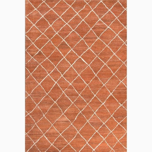 Handmade Red/ Ivory Wool Easy Care Rug (9 x 12)