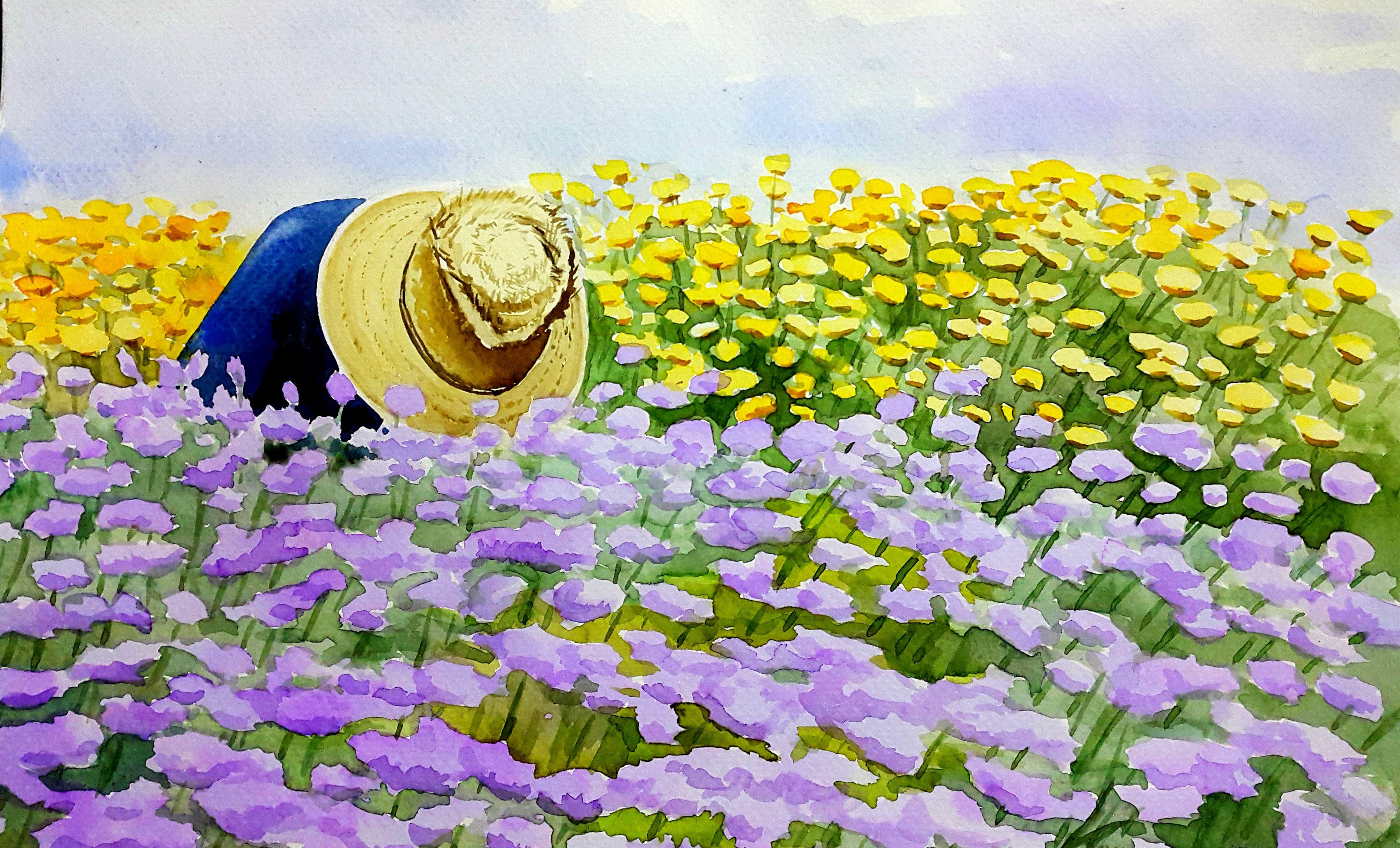 """""""Colheita de Flores"""" (Flower harvest) - 2015 - Aquarela em papel Canson aquarela 300 g prensado a frio - 21 x 30 cm - by Silvana Pohl"""