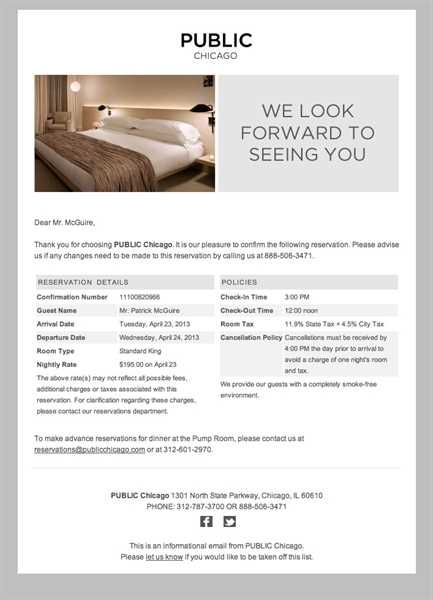 Hotel Confirmation Email  Example Of Hotel Reservation