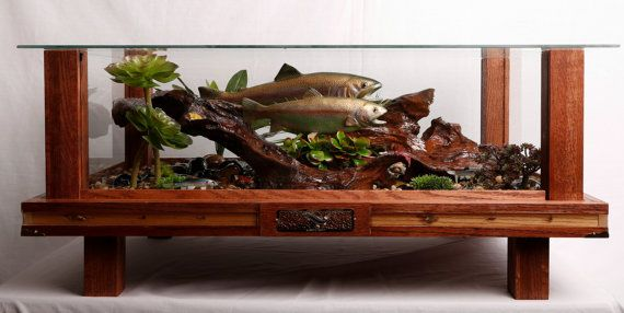 rainbow trout fish natural habitat red oak coffee table encased in glass all the elements of a natural trout stream with real river rock