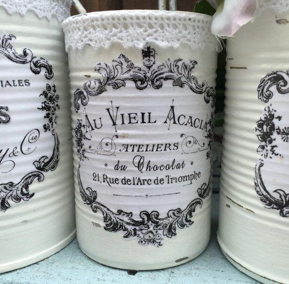 3 país francés pintado encaje lacy lacin latas centros de mesa Vasos blanco Shabby Chic tipografía etiquetas casa dormitorio de la decoración de la oficina de la boda decoración #tincans