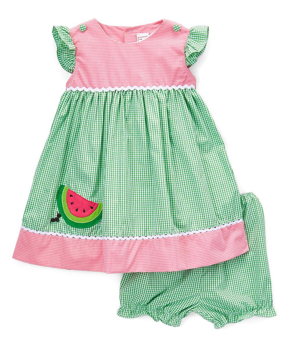 8376d34f5105 Green Watermelon Appliqué Dress   Bloomers - Infant