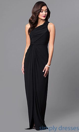 e2b24aa8ab2 Shop ruched one-shoulder long prom dresses at Simply Dresses. Cheap formal  evening dresses under  100 with side-knot detail and side slits.