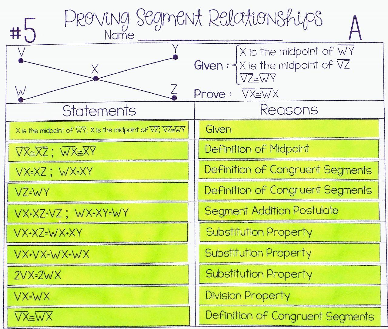 Segment Relationships Proof Activity High School Geometry Proofs