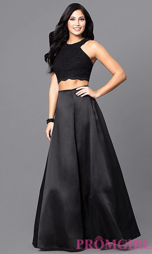 8a6063a8a2 Image of long black two-piece designer prom dress. Style  BN-56748 Front  Image