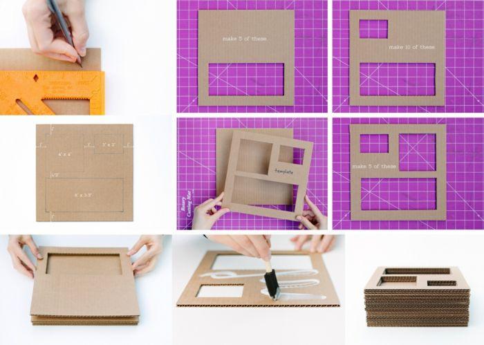originelle diy deko 5 einfache bastelideen aus karton diy do it yourself selber machen. Black Bedroom Furniture Sets. Home Design Ideas