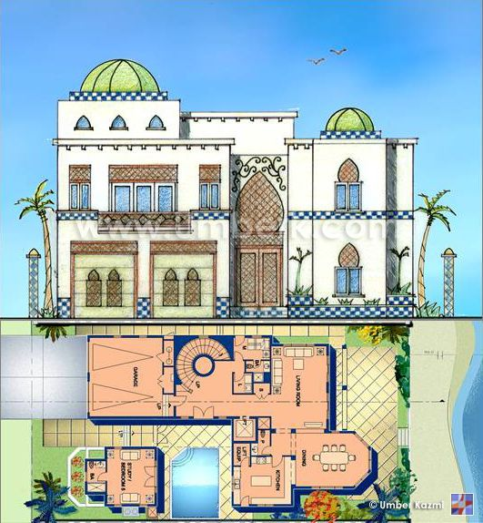 Moroccan home design moroccan architecture and style for Villa architecture design plans