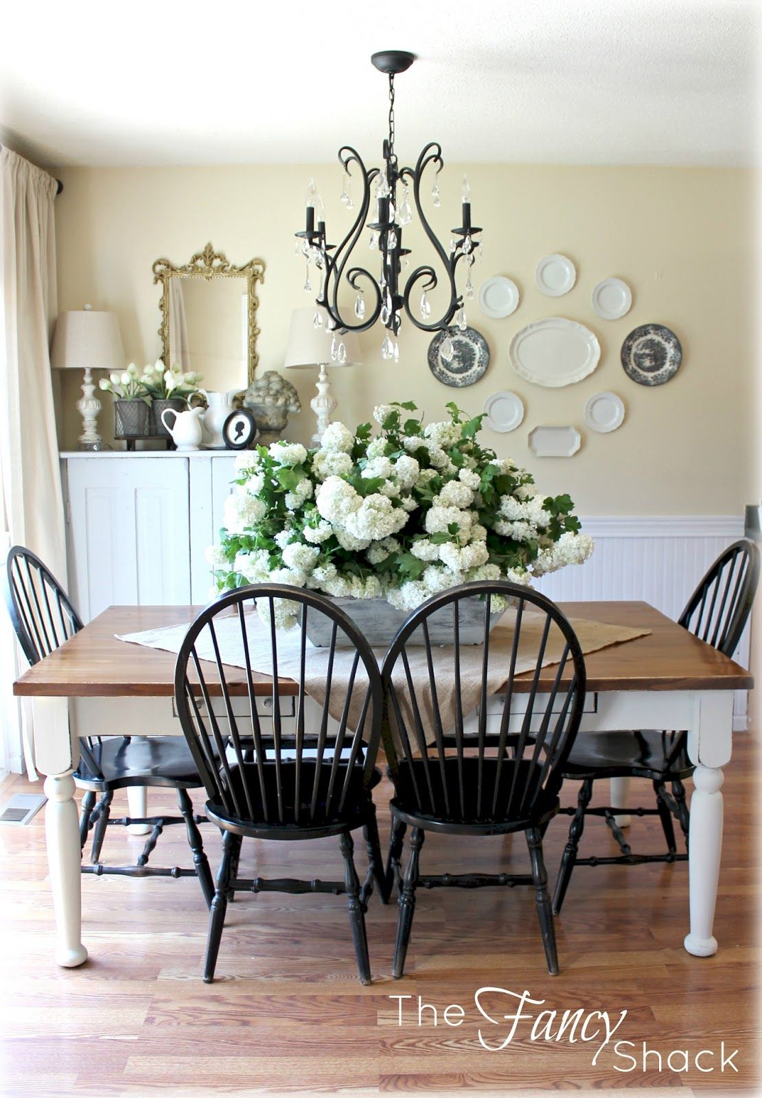 Black Chairs And Bench With White And Wood Table Beautiful Dining Rooms Vintage Dining Room Farmhouse Dining