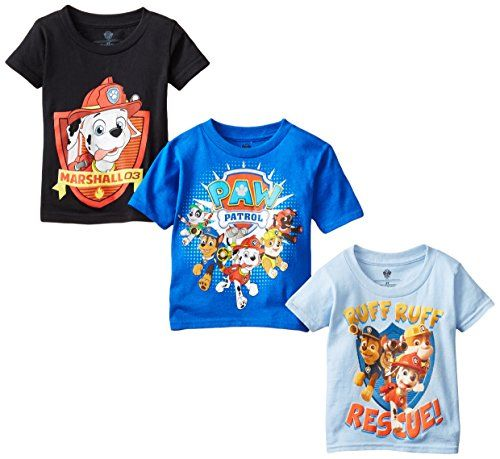 Nickelodeon Little Boys' Toddler Paw Patrol Toddler Boys T-Shirt 3-Pack Assorted 4T...