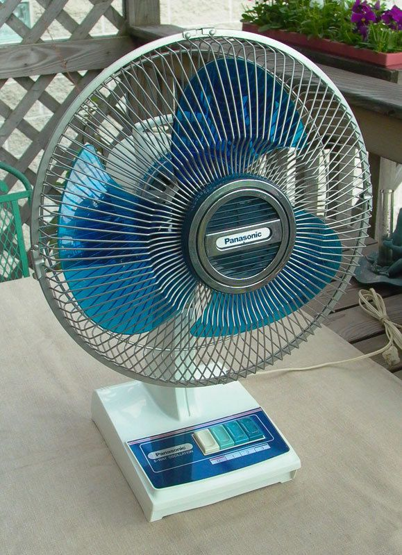 Panasonic Table Fan : Vintage panasonic f quot blue blade speed