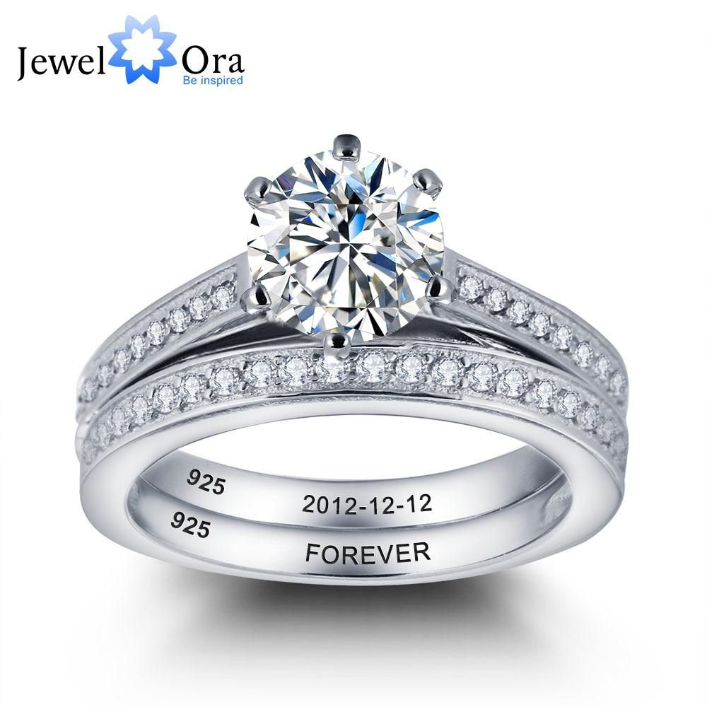 Personalized Engrave Bridal Sets 925 Sterling Silver CZ