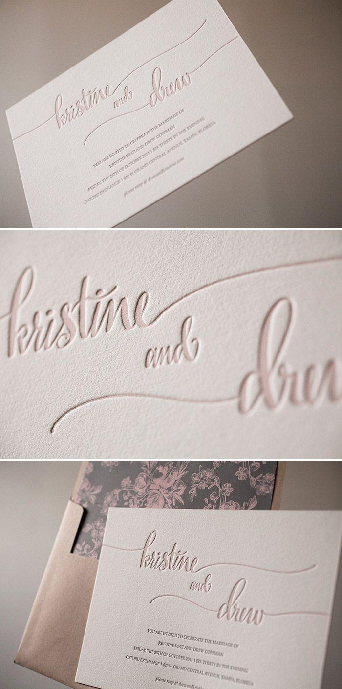 Romantic Colette letterpress wedding invitations printed in dusty ...