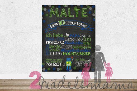 Chalkboard zum 10. Geburtstag - Design Punkte grün / blau