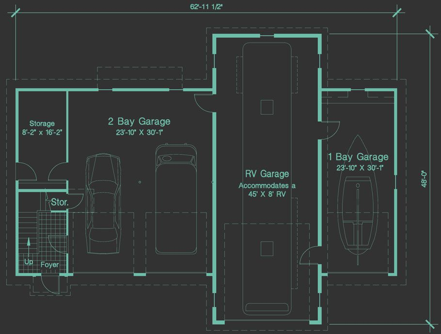 RV Garage Plan for 45\u0027 Motor Home and Efficiency Apartment Plan