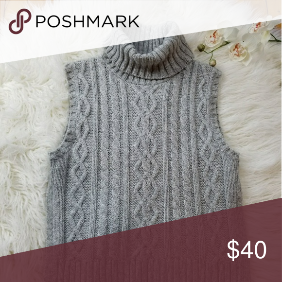 Madewell Cable Knit Turtleneck Sleeveless Sweater Cable Knitting