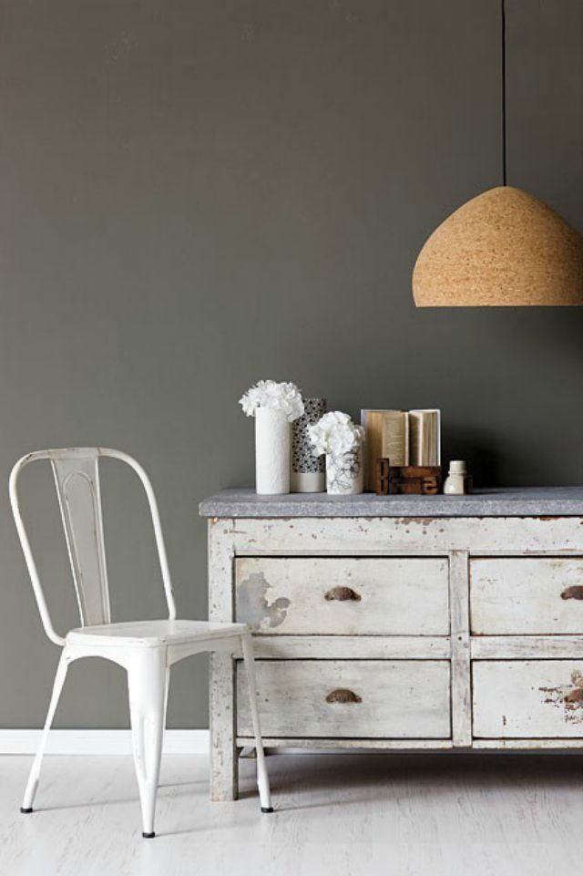 grey-walls-paint-color-white-chair-shabby-dresser | for the home