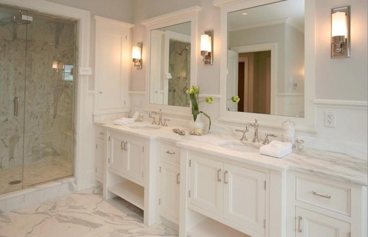 All White Bathroom Mirrors Double Vanity Bathroom White