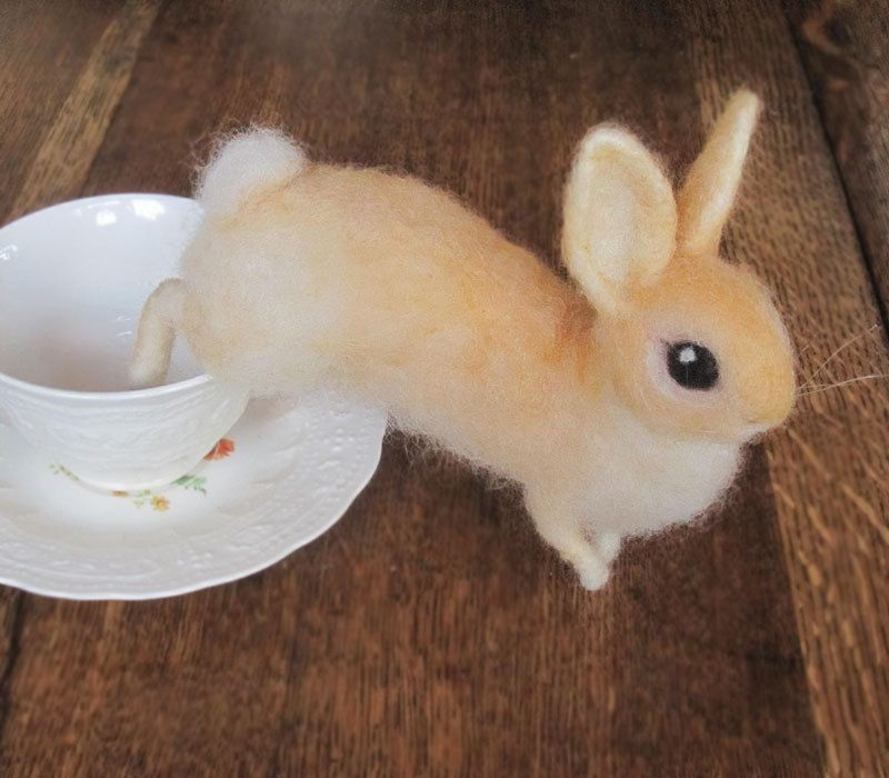 Needle felted rabbit cream colored Easter bunny cute by Ainigmati, $150.00