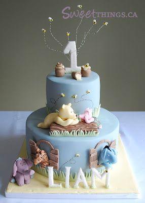 Sweetthings 1st Birthday Classic Winnie The Pooh Cake Boys First Birthday Cake Boys 1st Birthday Cake 1st Birthday Cakes
