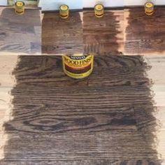 Minwax Wood Stain On Red Oak Flooring From Left To Right 1 Classic Gray 2 Ebony 3 Dark Walnut 4 Espresso 5 Jacobean