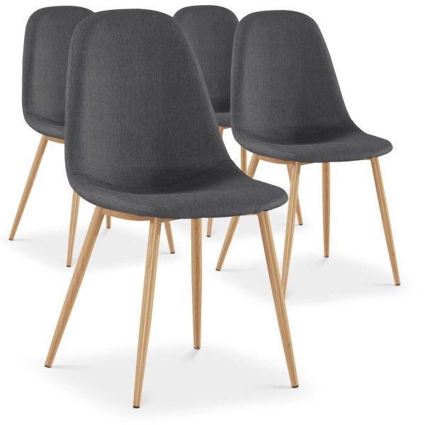 lot de 4 chaises scandinaves lio tissu gris coin du design chaises pinterest. Black Bedroom Furniture Sets. Home Design Ideas