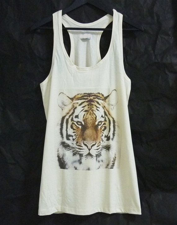 87bc7d29 Bengal tiger tank top dress face animal big cat shirt off white t ...