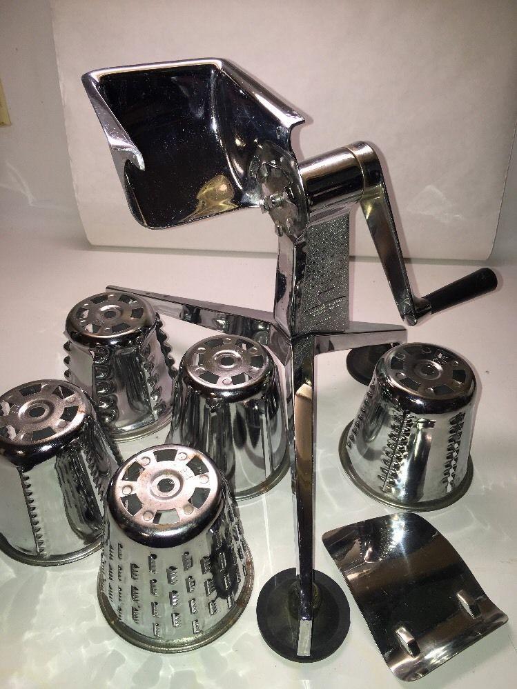 SALADMASTER Food Processor W/FINGER GUARD Shredder Slicer DALLAS TEXAS 5 CONES…