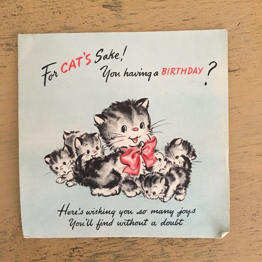 Vintage Hallmark Kitten Pop Up Birthday Card Kitty Cats Signed