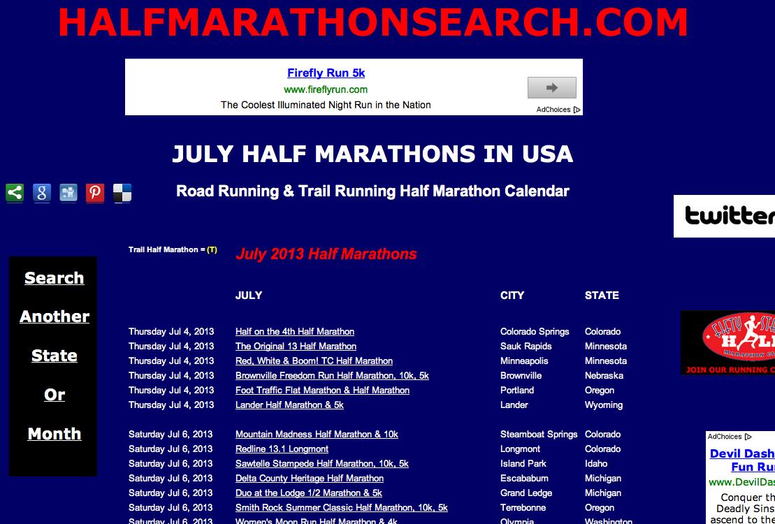 JULY HALF MARATHONS   July Half Marathon Calendar   July 2013 half