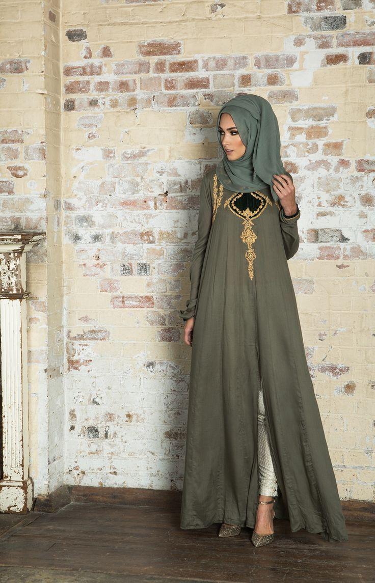 Olive green abaya white pants  504b7f935ea6