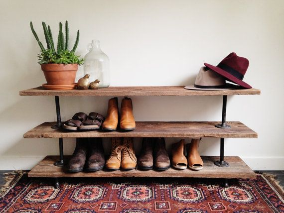 reclaimed barn wood industrial pipe console table shoe rack tv stand buffet