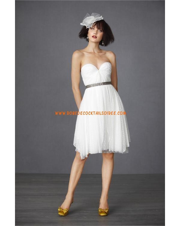 Belle robe de mariée 2012 courte décorée de ceinture tulle