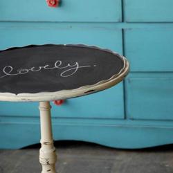 Chalkboard paint on vintage table