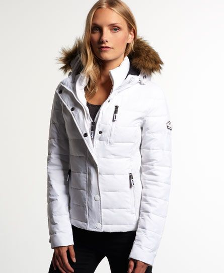 Fuji Slim Jacket Superdry Zip White Hooded Snowboarding Double vpFxdw1xq
