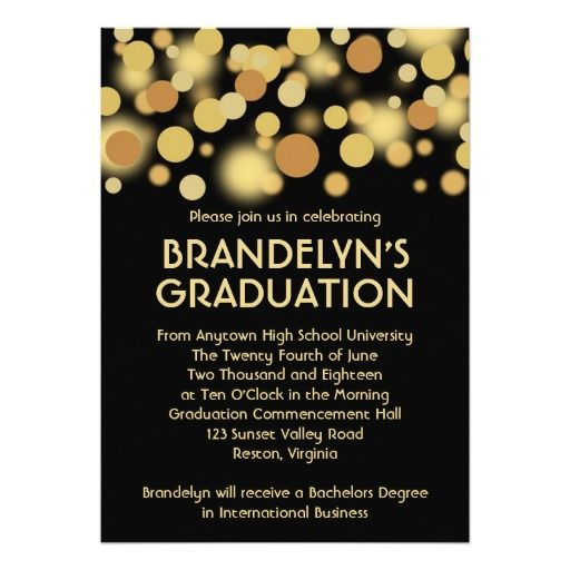 Black and Gold Celebration Graduation Announcement – Black and Gold Graduation Invitations
