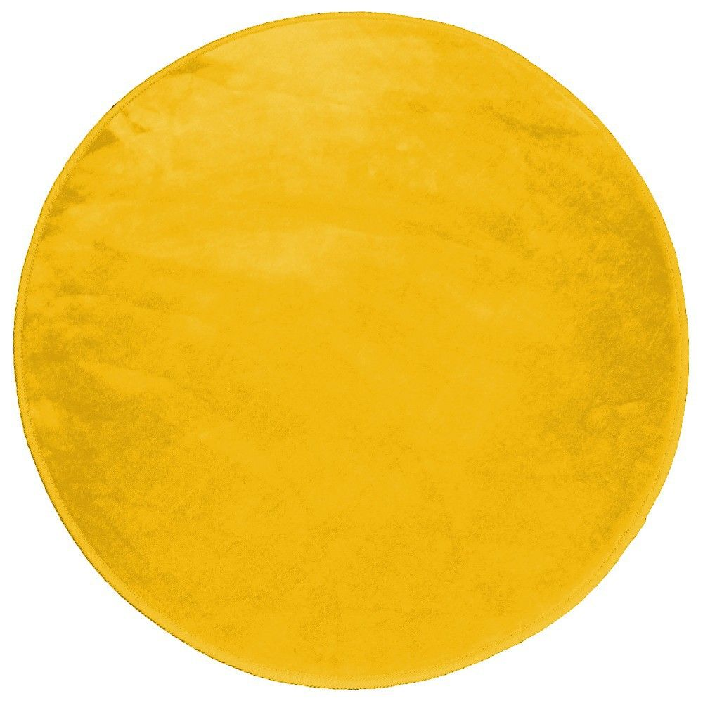 tapis rond velours uni jaune moutarde tapis rond. Black Bedroom Furniture Sets. Home Design Ideas