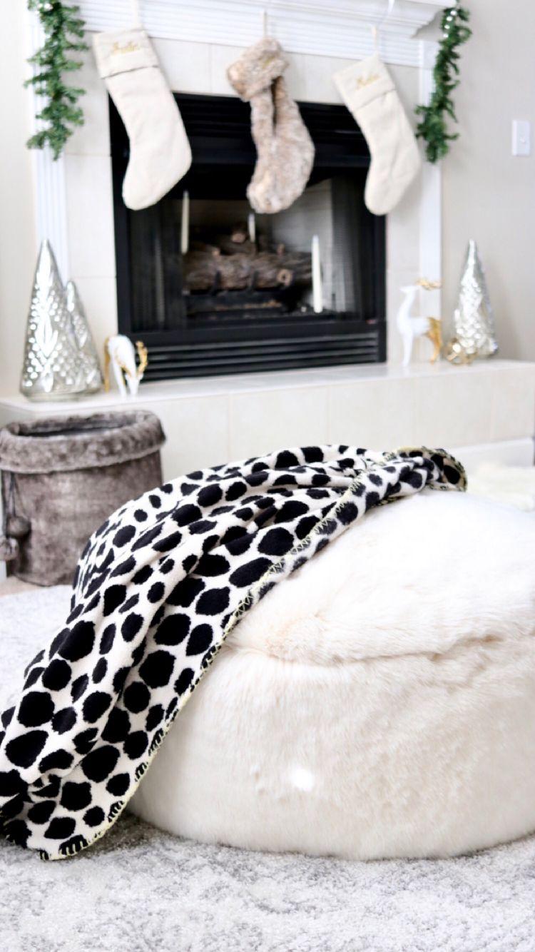 Dreamy faux fur pouf bean bag chair seasonal decor pouf