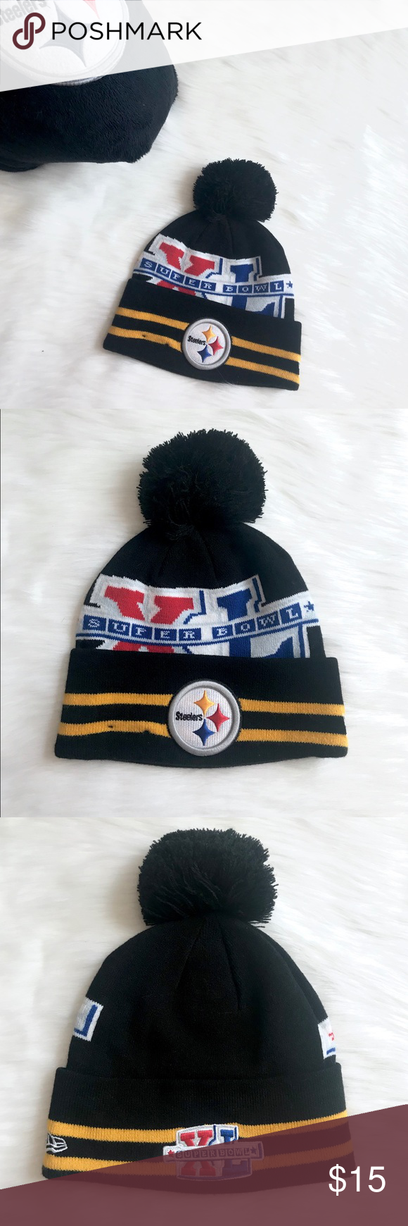 7dbe446be Pittsburgh Steelers New Era Black NFL Knit Hat Material: 90% Acrylic ...