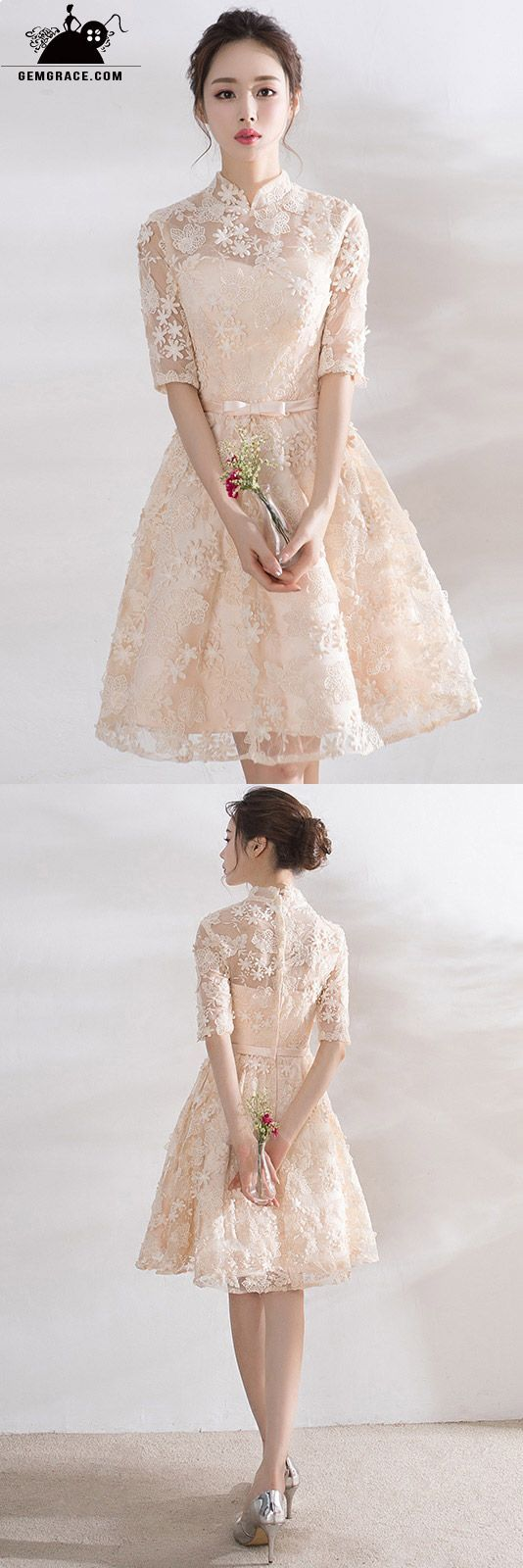 Champagne lace short homecoming party dress with collar short prom