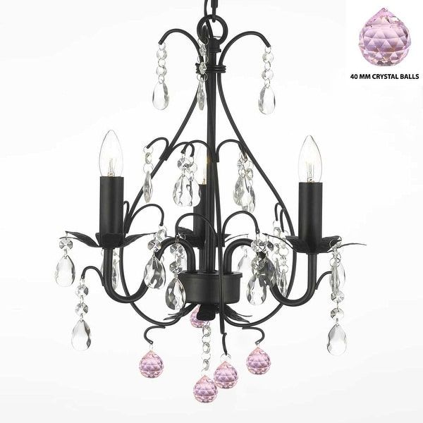 Wrought iron mini crystal chandelier with pink crystal balls dream wrought iron mini crystal chandelier with pink crystal balls aloadofball Gallery