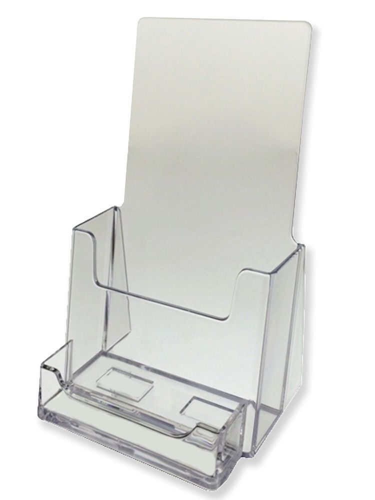 Tri-Fold Brochure Holder with attached Card Holder Acrylic 4 ...