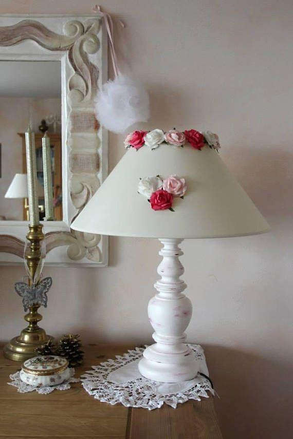 Lampe Romantique Shabby Chic A Poser Patinee Abat Jour Team Etsy